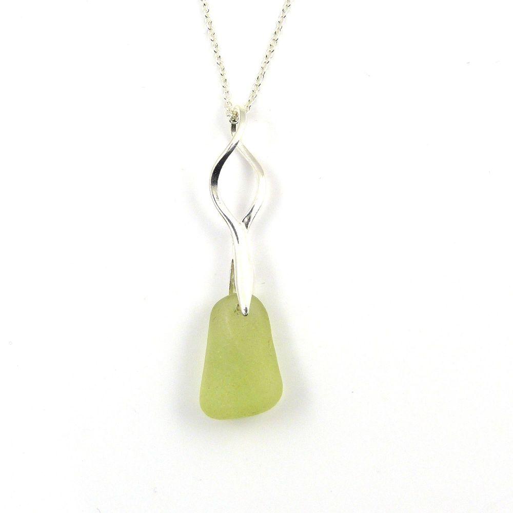 Rare! UV (Ultraviolet) Sea Glass Necklace NEON