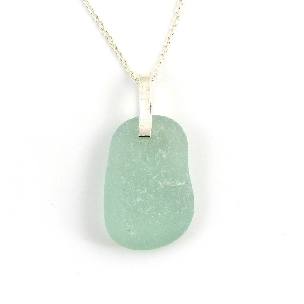 Light Teal Sea Glass and Silver Necklace ELLA