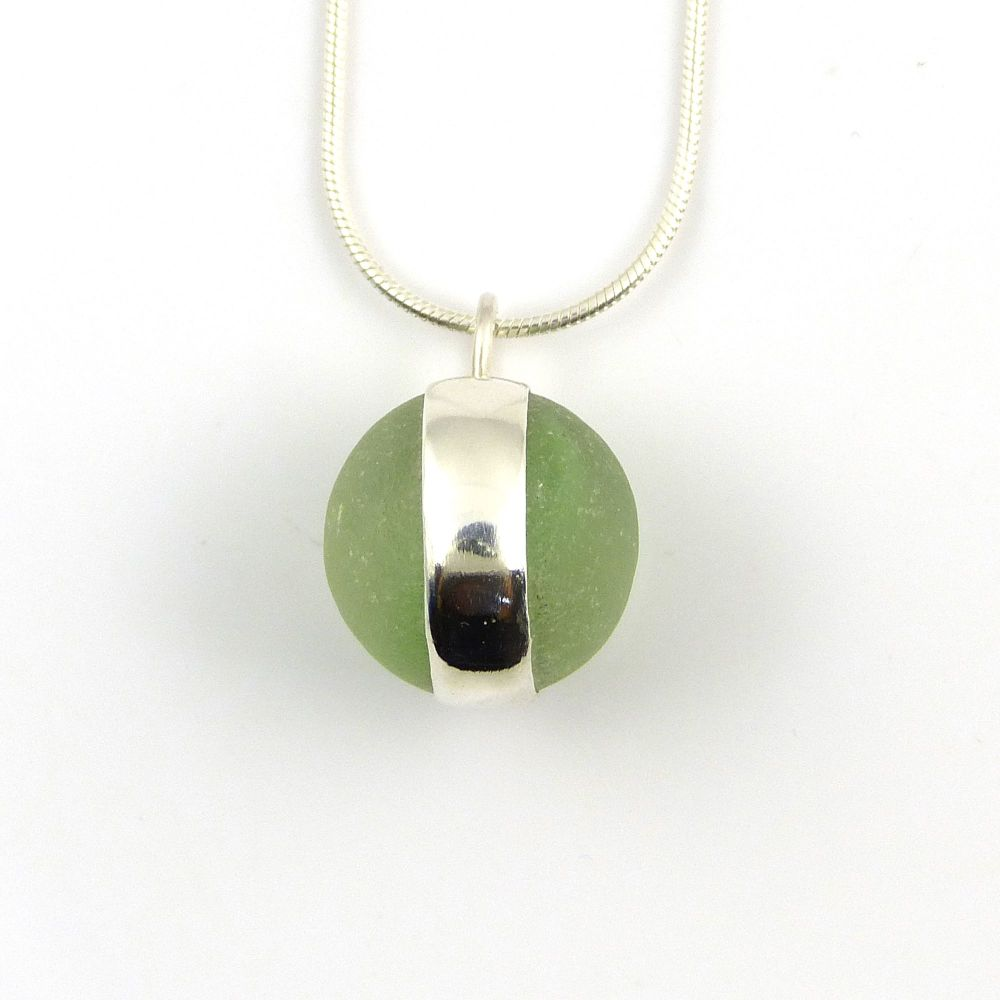 Spring Green Floating Bezel Set Sea Glass Marble Necklace LANA