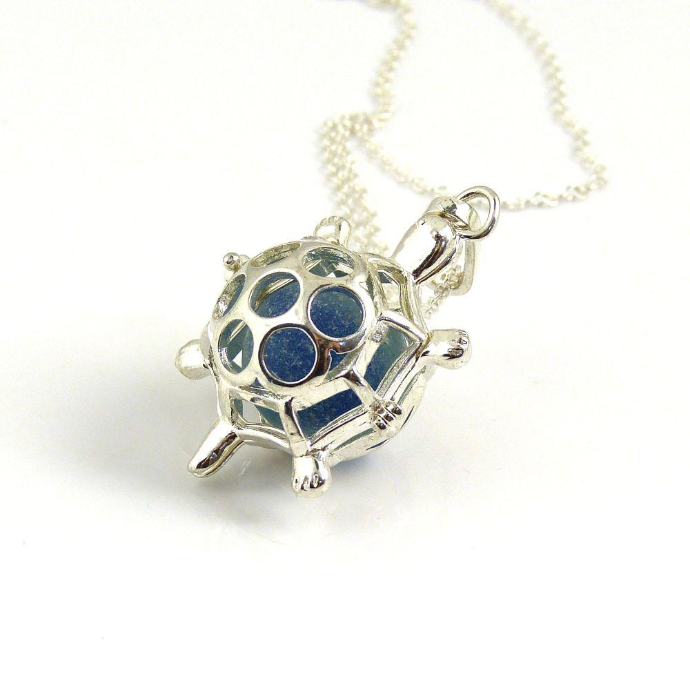 Ocean Blue Sea Glass Marble Turtle Locket Necklace L158
