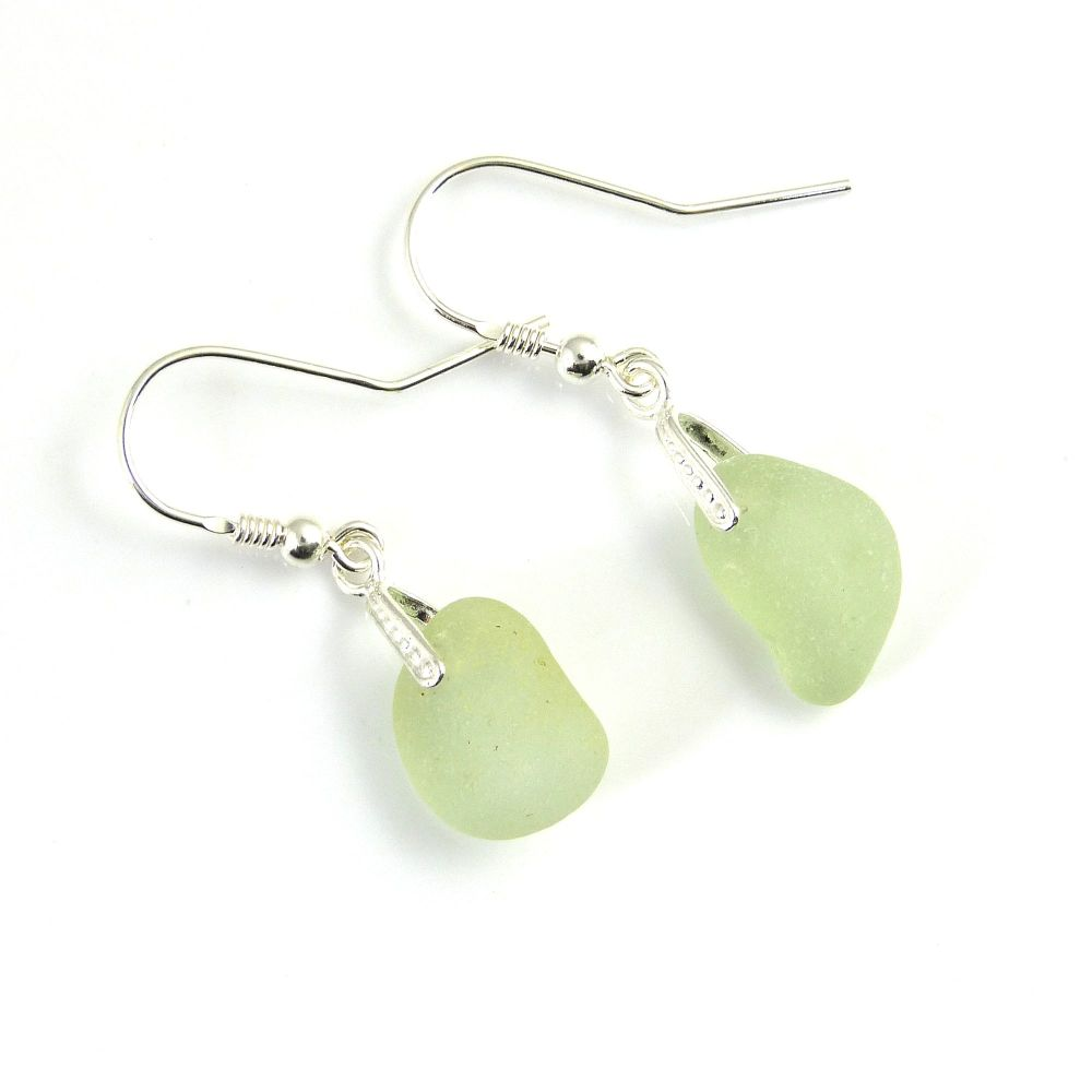 Sea Glass Sterling Silver Earrings e170
