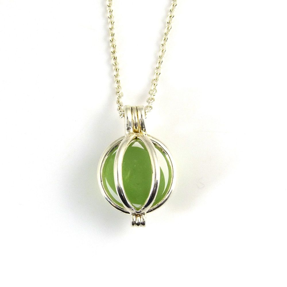 Tiny Round Locket with a Lime Green Sea Glass Nugget