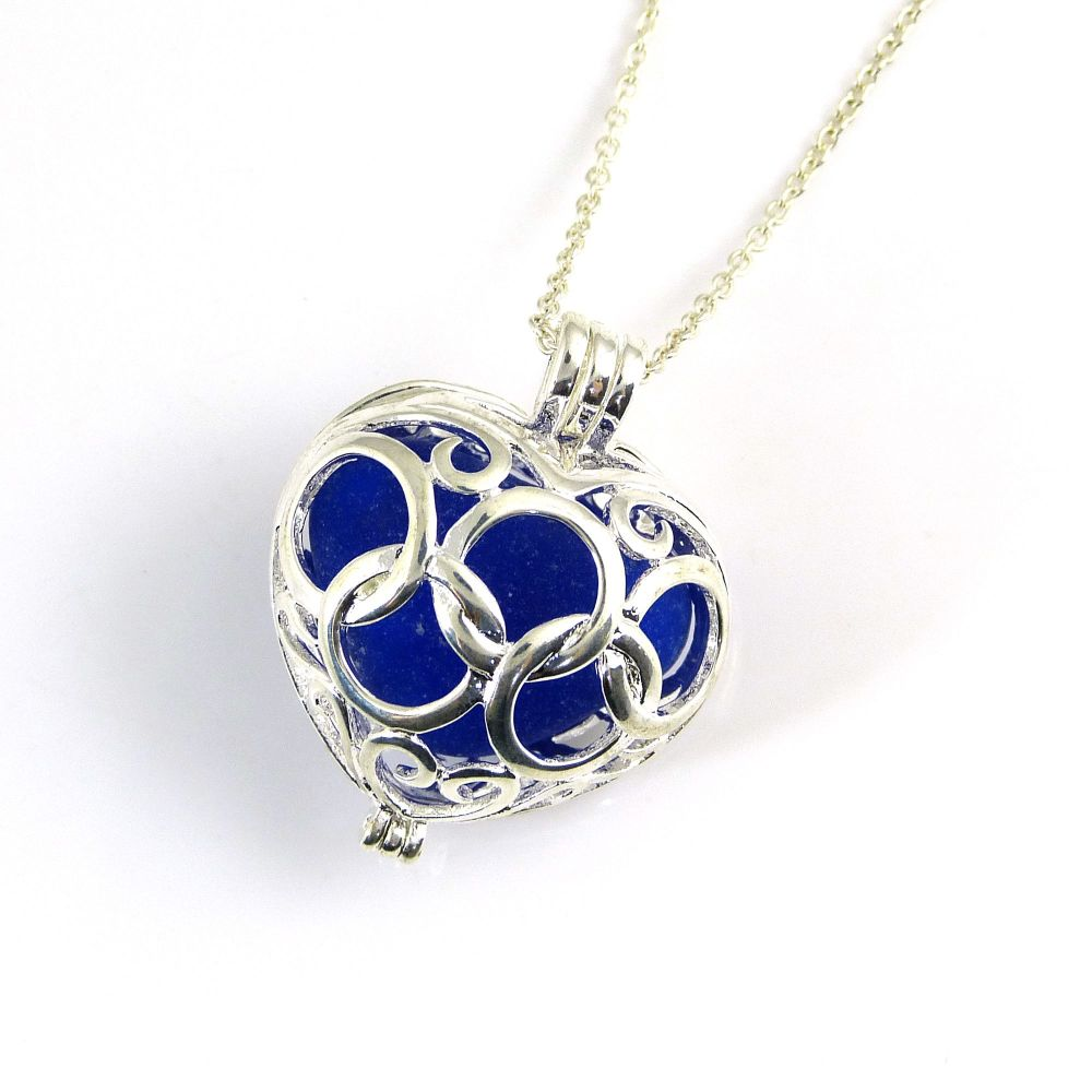 Big Cobalt Blue Sea Glass Heart Locket Necklace L160