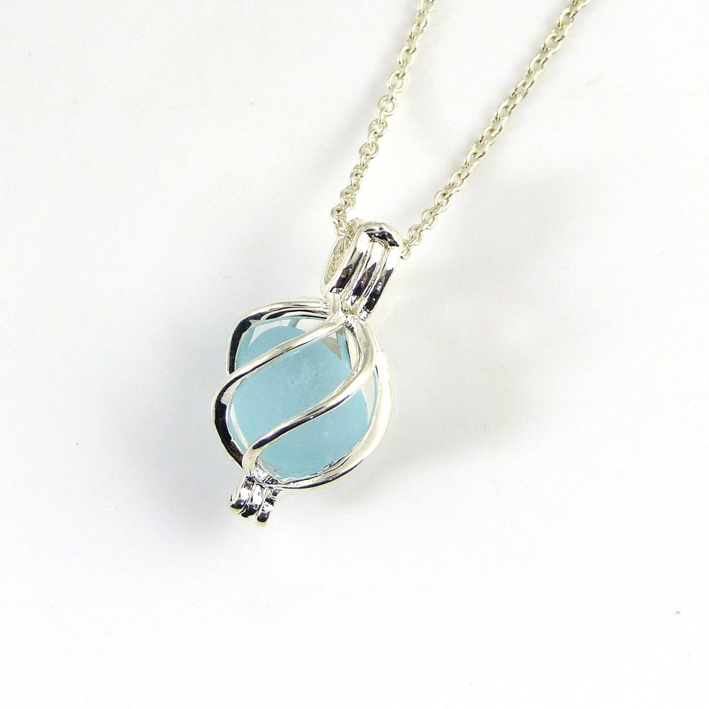 Tiny Pastel Blue Sea Glass in Tiny Swirl  Locket Necklace L164