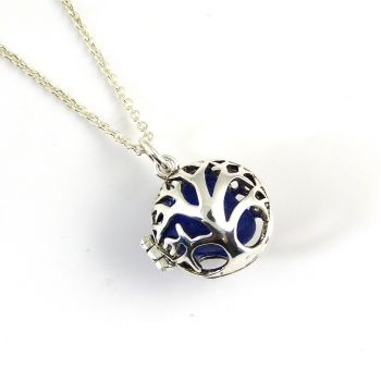 Cobalt Blue Sea Glass Gem Tree of Life Necklace L165