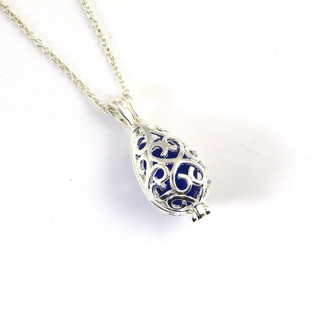Cobalt Blue Sea Glass Silver Filigree Locket Necklace L167