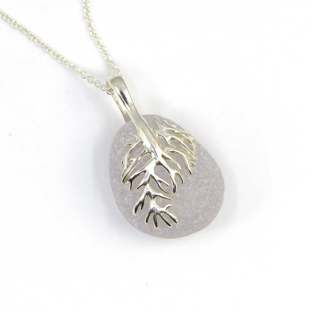 Pale Lavender Sea Glass Pendant Necklace, Rare Sea Glass, Beach Glass, Beac