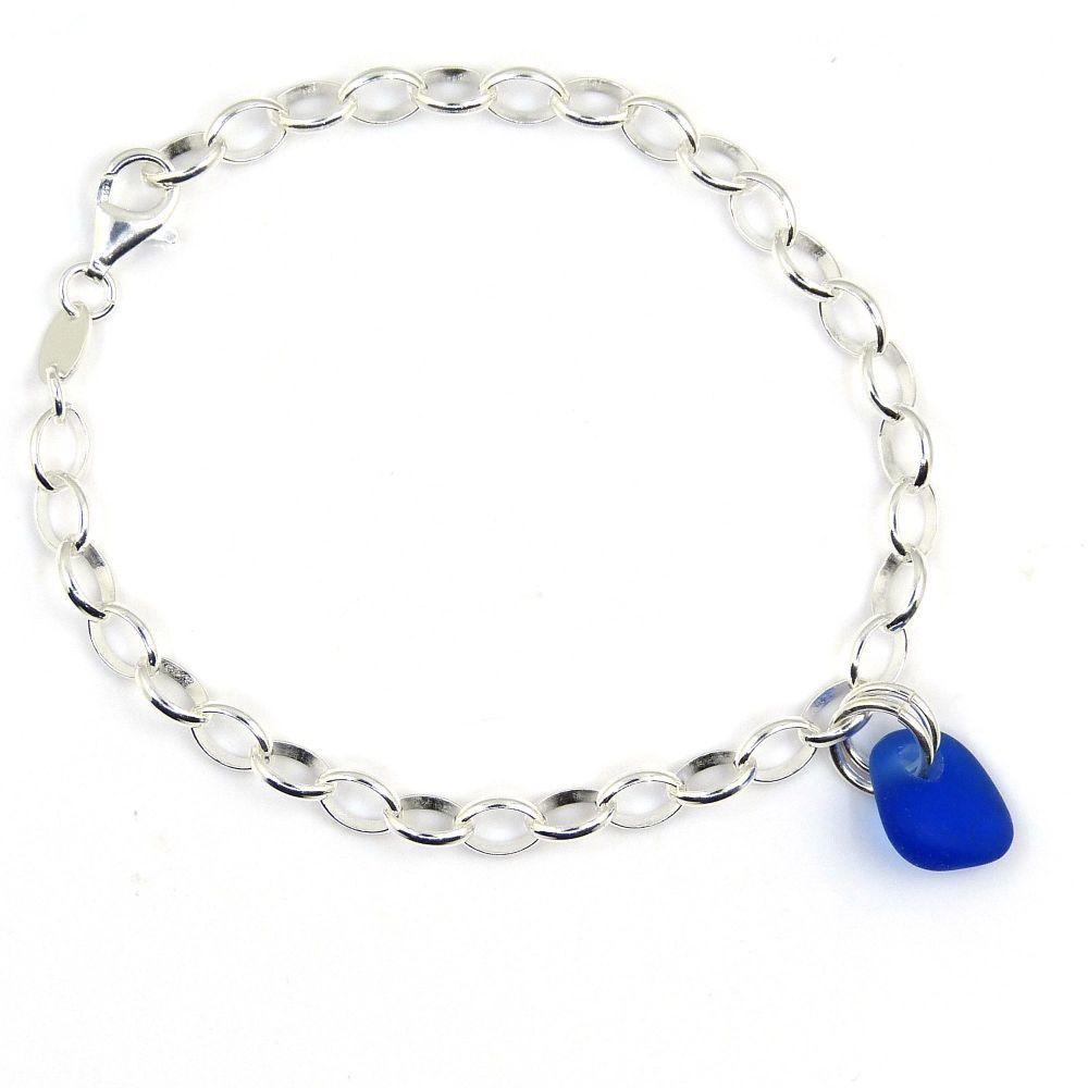 Cobalt Blue Sea Glass and Sterling Silver Bracelet 4mm links b252