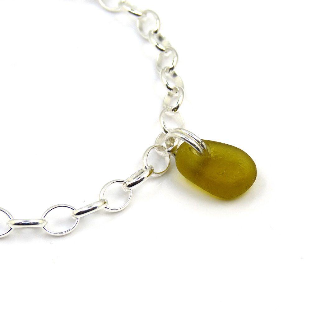 Khaki Sea Glass and Sterling Silver Bracelet 4mm links The Strandline b250