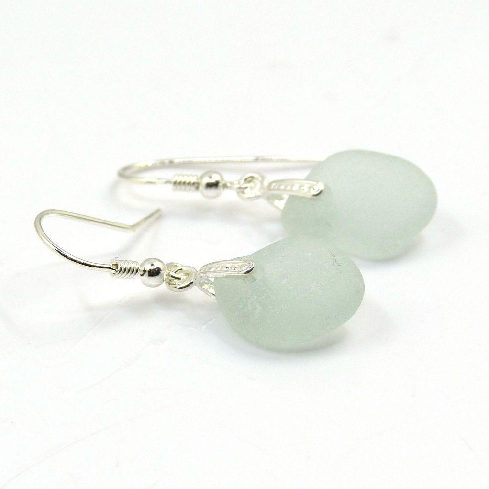 Pale Blue Sea Glass Sterling Silver Earrings E174