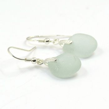 Pale Blue Sea Glass Sterling Silver Earrings E176
