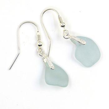 Pale Blue Sea Glass Sterling Silver Earrings E175