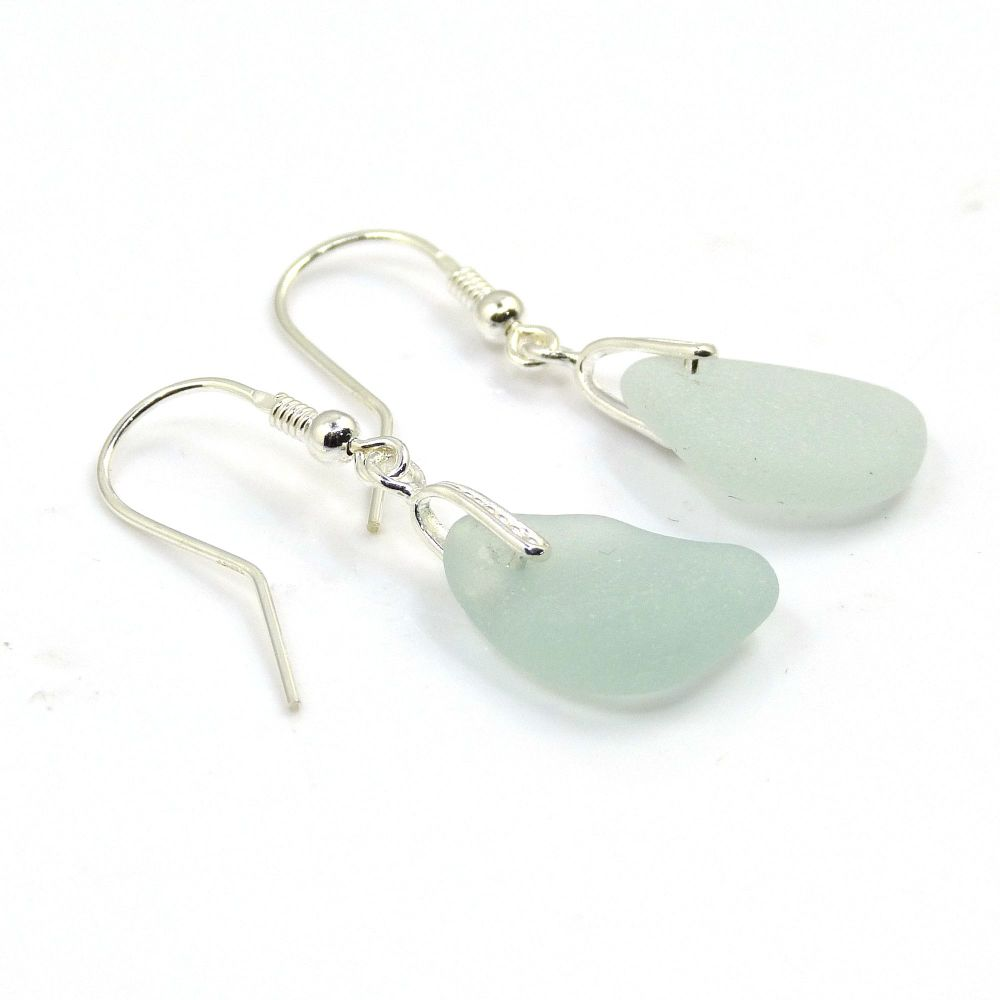 Pale Blue Sea Glass Sterling Silver Earrings E174