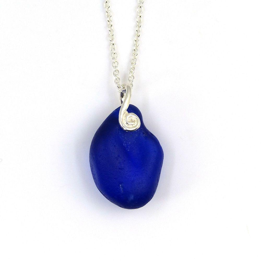 Cobalt Blue Sea Glass Pendant Necklace ELODIE
