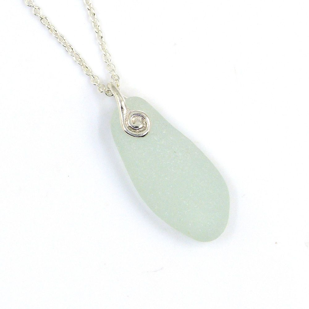 Pale Blue Sea Glass and Silver Necklace ADRIENNE
