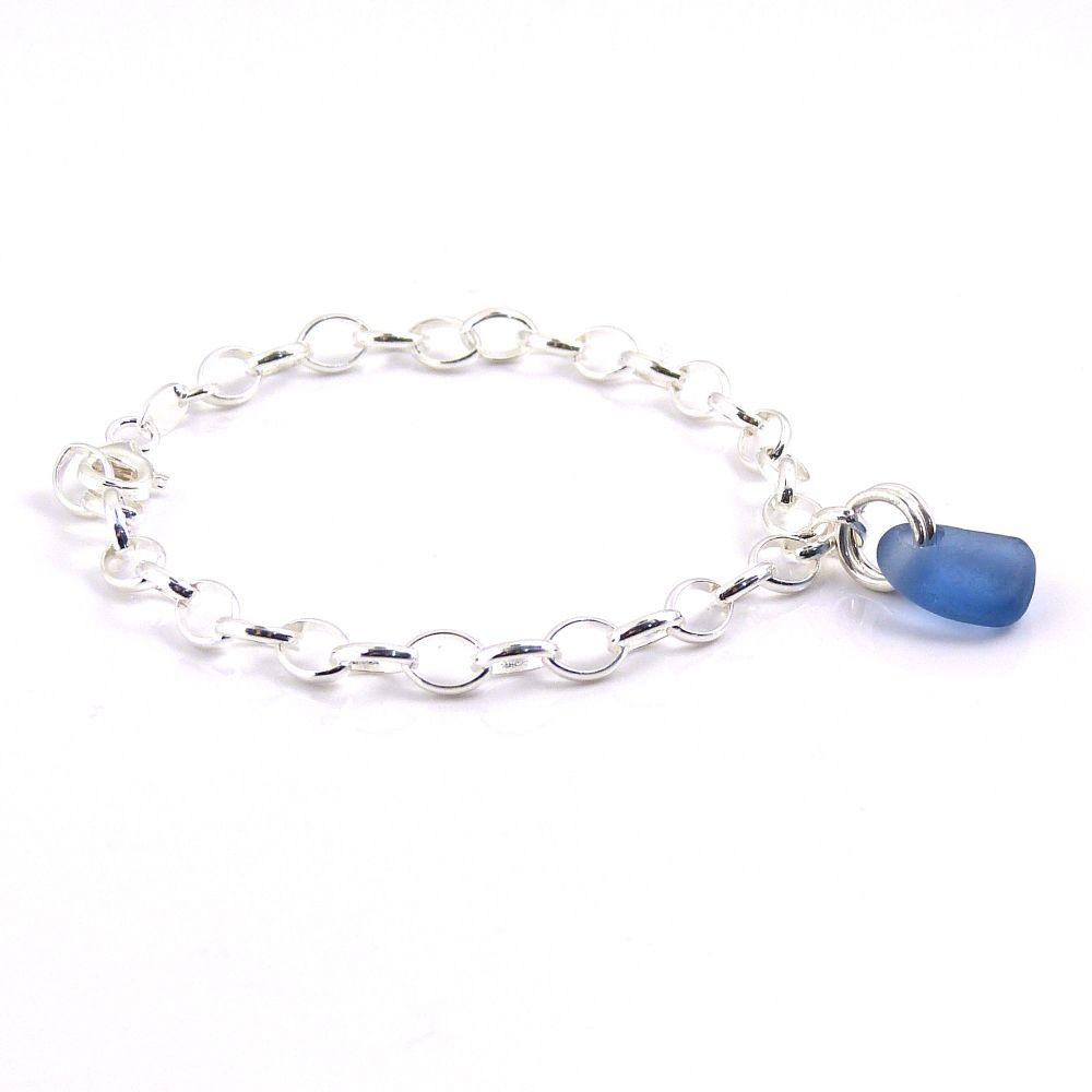 Deep Sky Blue Sea Glass and Sterling Silver Bracelet 4mm links The Strandli