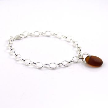 Dark Amber Sea Glass and Sterling Silver Bracelet 4mm links The Strandline b255