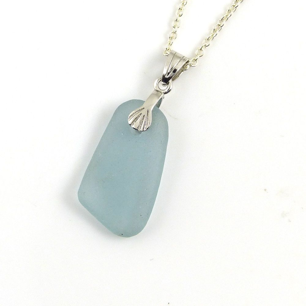 Pale Steel Blue Sea Glass and Silver Necklace  MADELYN