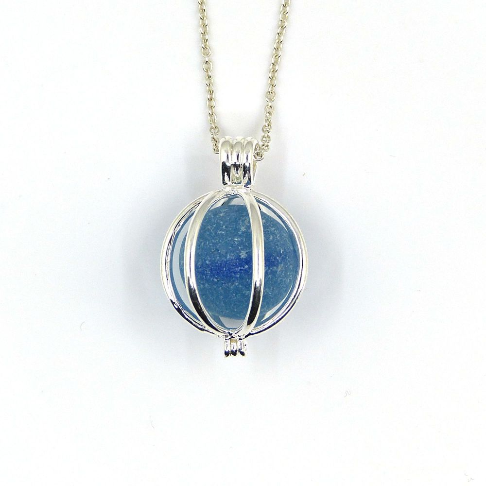 Sea Glass Marble Locket Necklace Sky Blue - Ready to Ship - L170