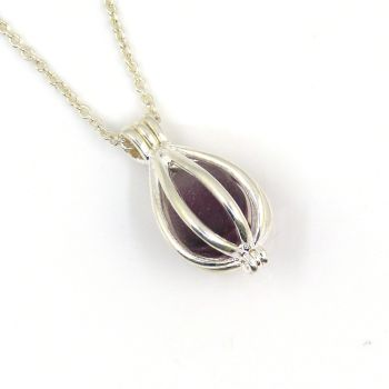 Tiny Round Locket with a Deep Violet Seaham Sea Glass Multi Gem L174
