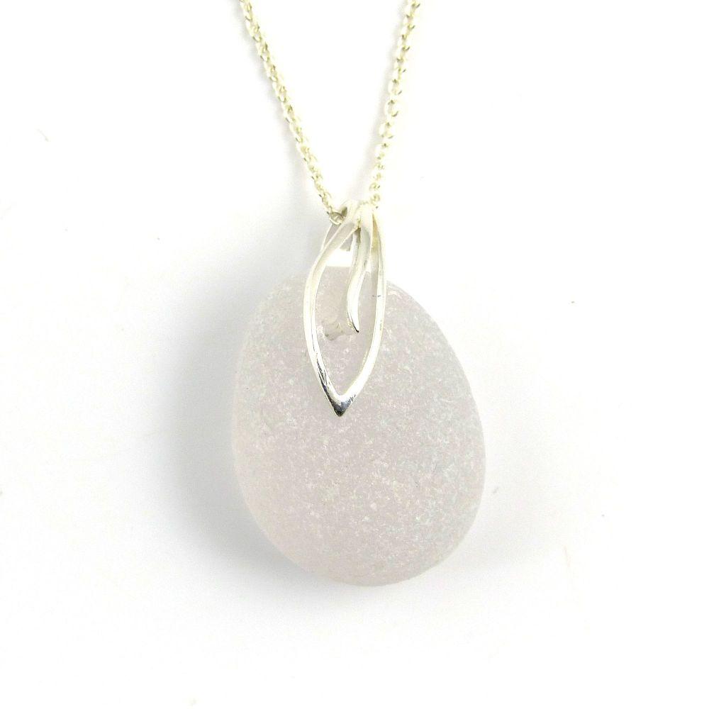 Lavender White Sea Glass Pendant Necklace, Rare Sea Glass, Beach Glass, Bea
