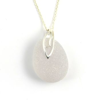 Lavender White Sea Glass Pendant Necklace, Rare Sea Glass, Beach Glass, Beach Jewellery SERENITY