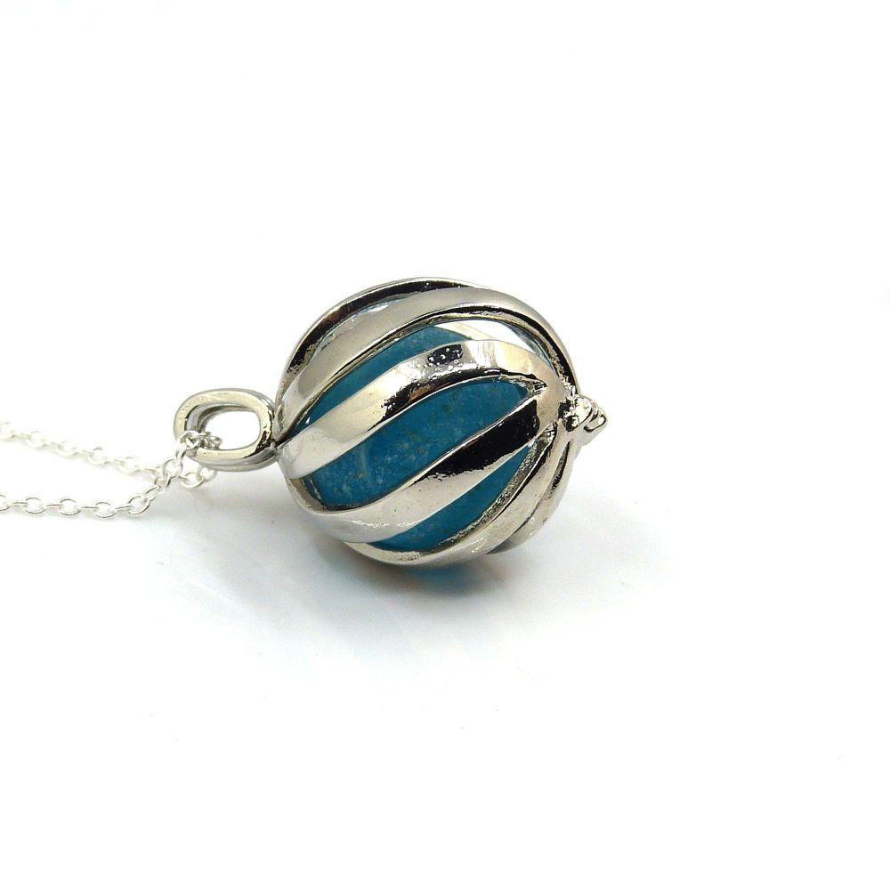 Turquoise Blue Sea Glass Marble in Swirl Locket L175