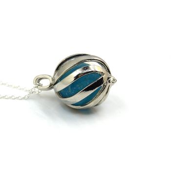 Turquoise Blue Sea Glass Marble in Swirl Locket L175