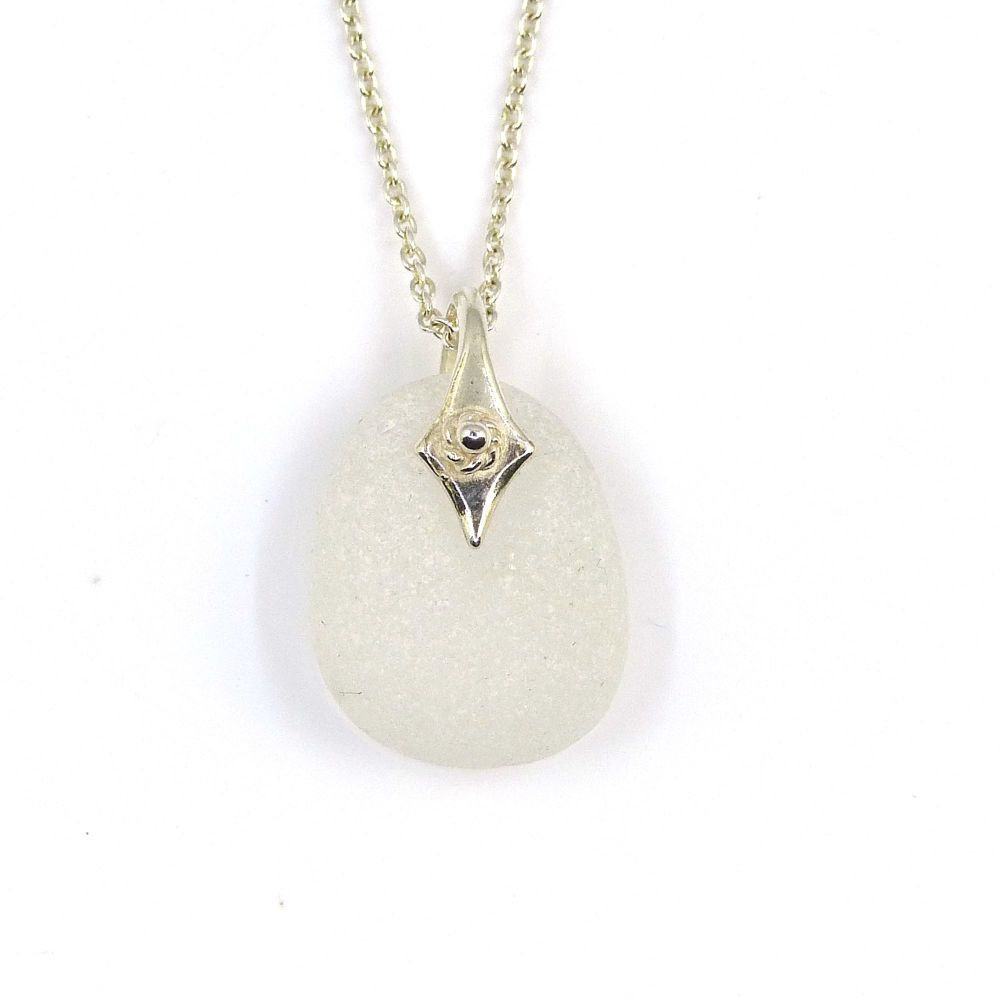 Snow White Sea Glass Necklace SUSIE