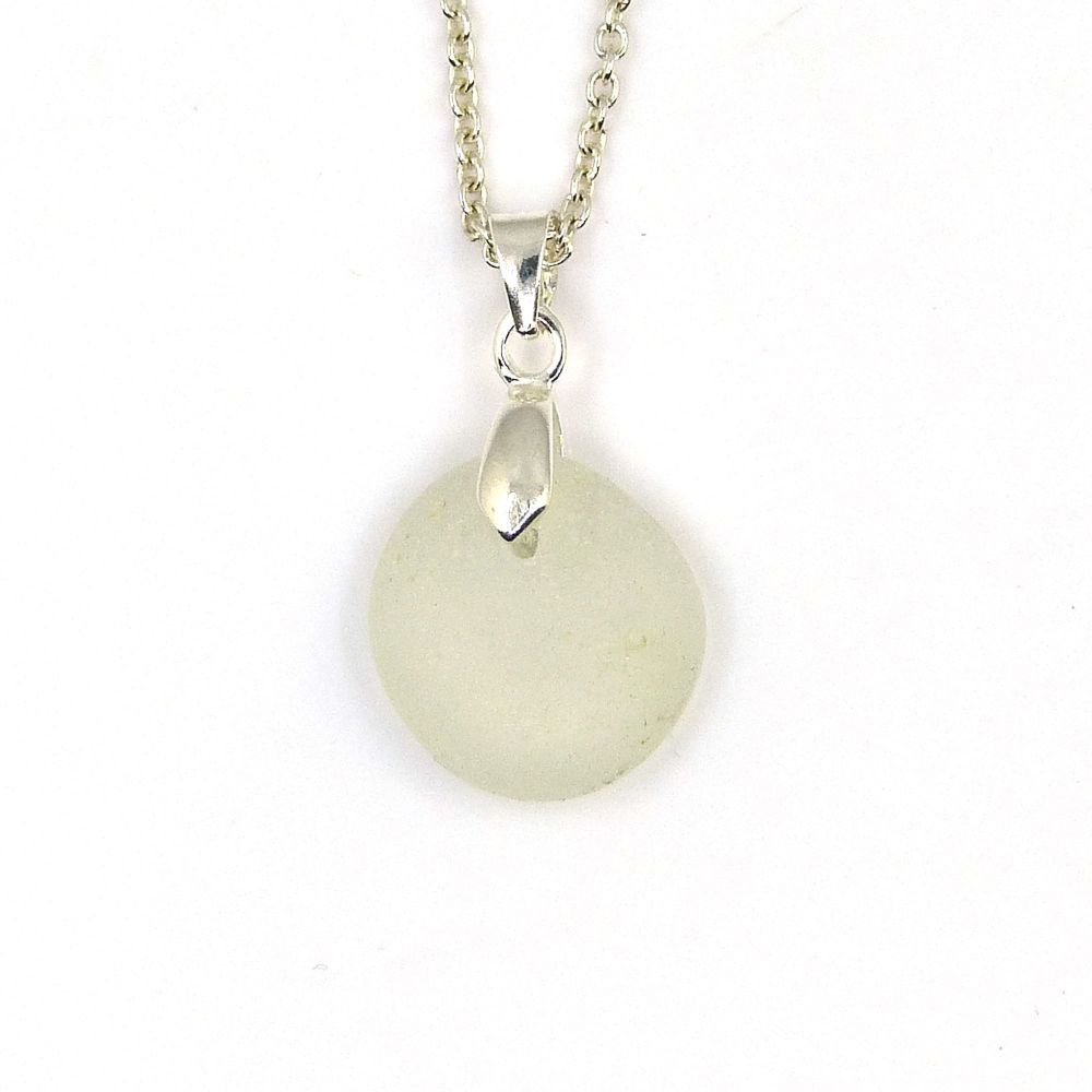 Tiny White Sea Glass and Silver Necklace LOIS