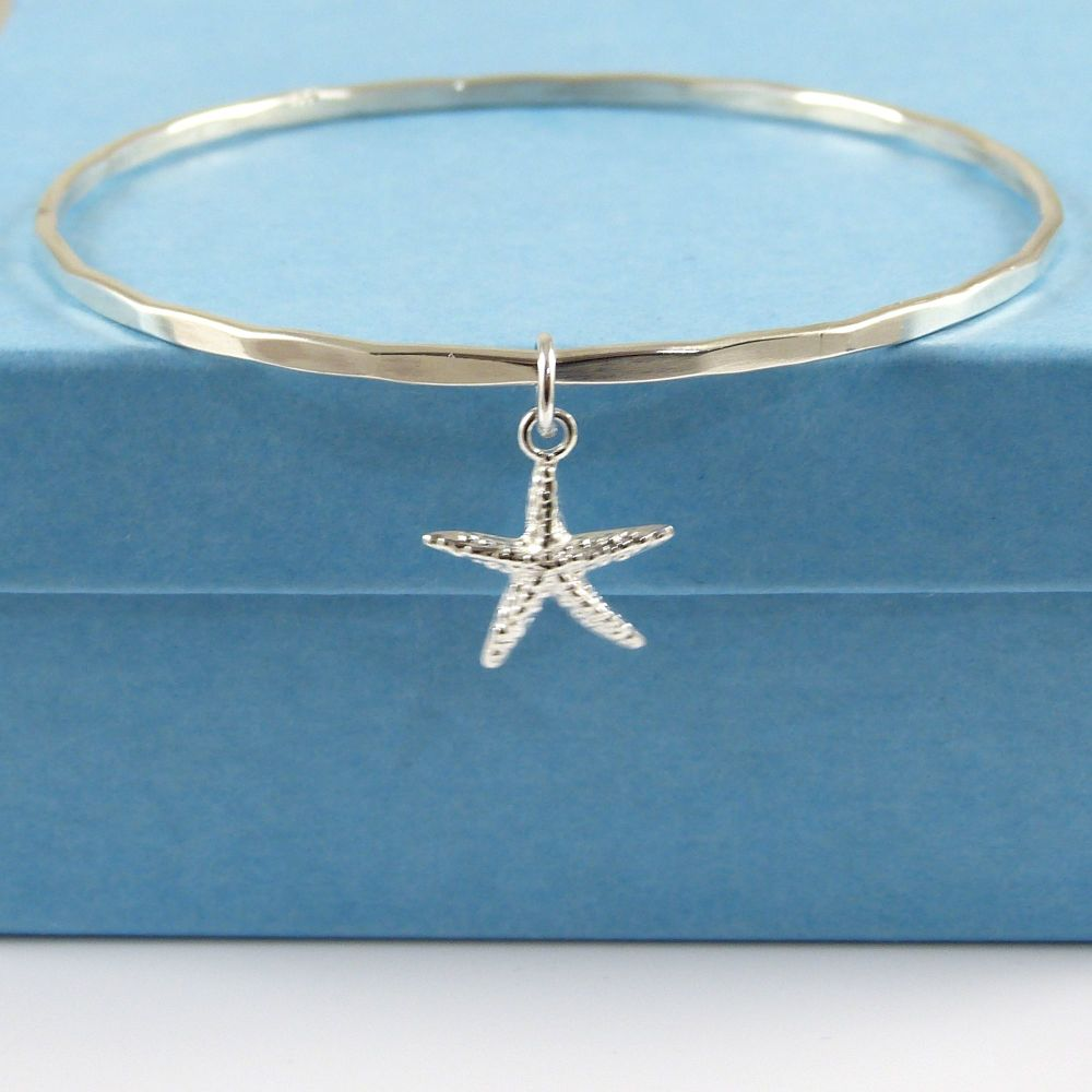 Sterling Silver Hammered Bangle with Starfish Charm