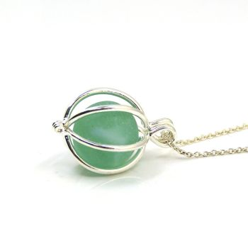 Sea Glass Marble Locket Necklace Light Teal Green - Ready to Ship - L172