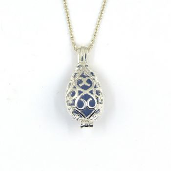 Seaham Smoke Indigo Sea Glass Silver Filigree Locket Necklace L173