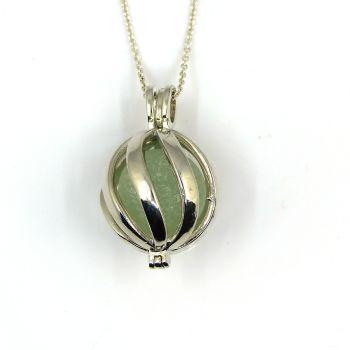 Seafoam Green Sea Glass Codd Marble in Swirl Locket L171