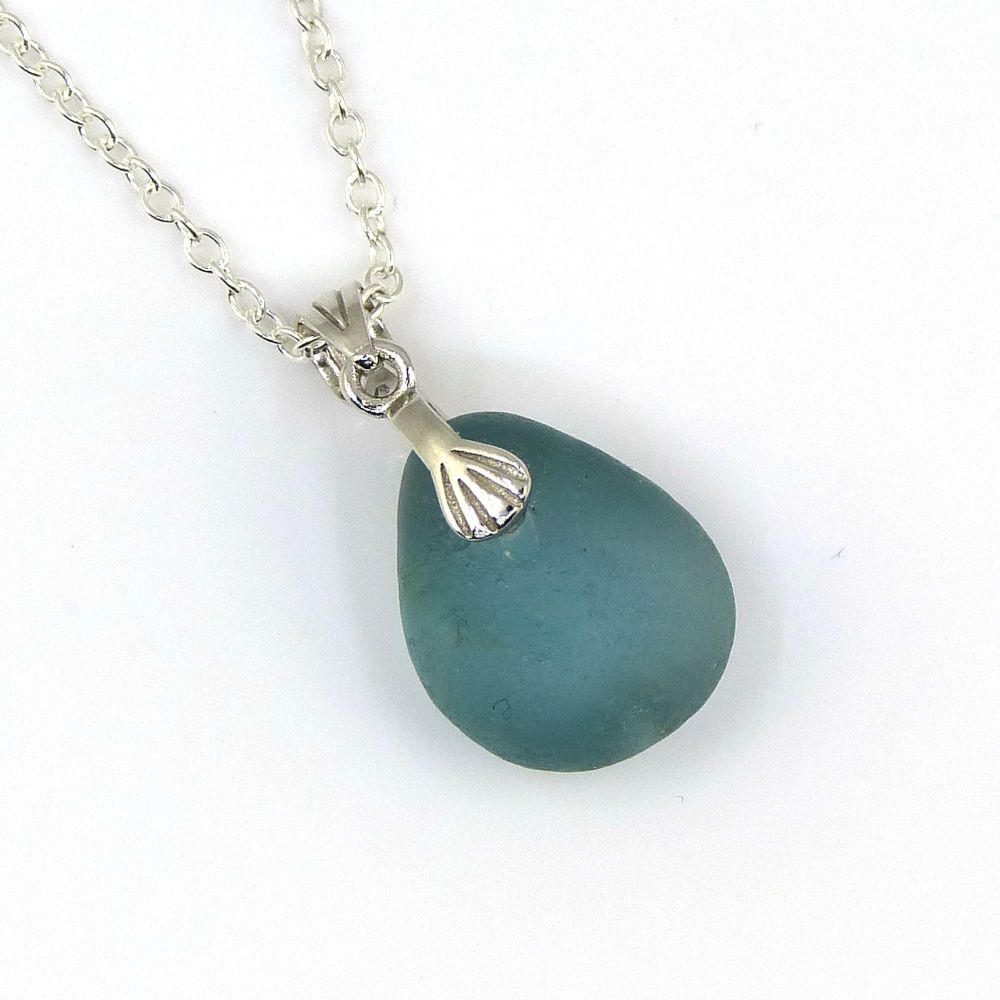 Deep Teal Blue Sea Glass and Silver Necklace BIJOU