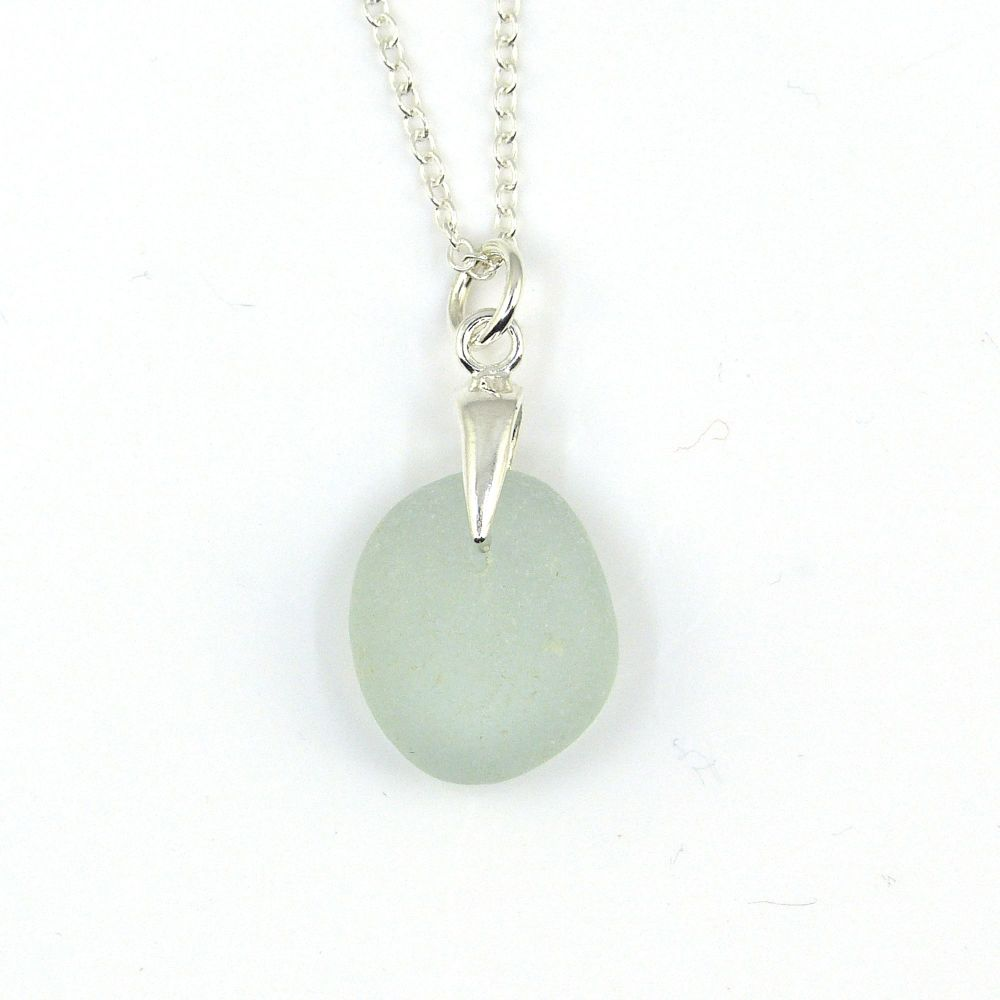 Pale Blue Sea Glass and Silver Necklace EMMY