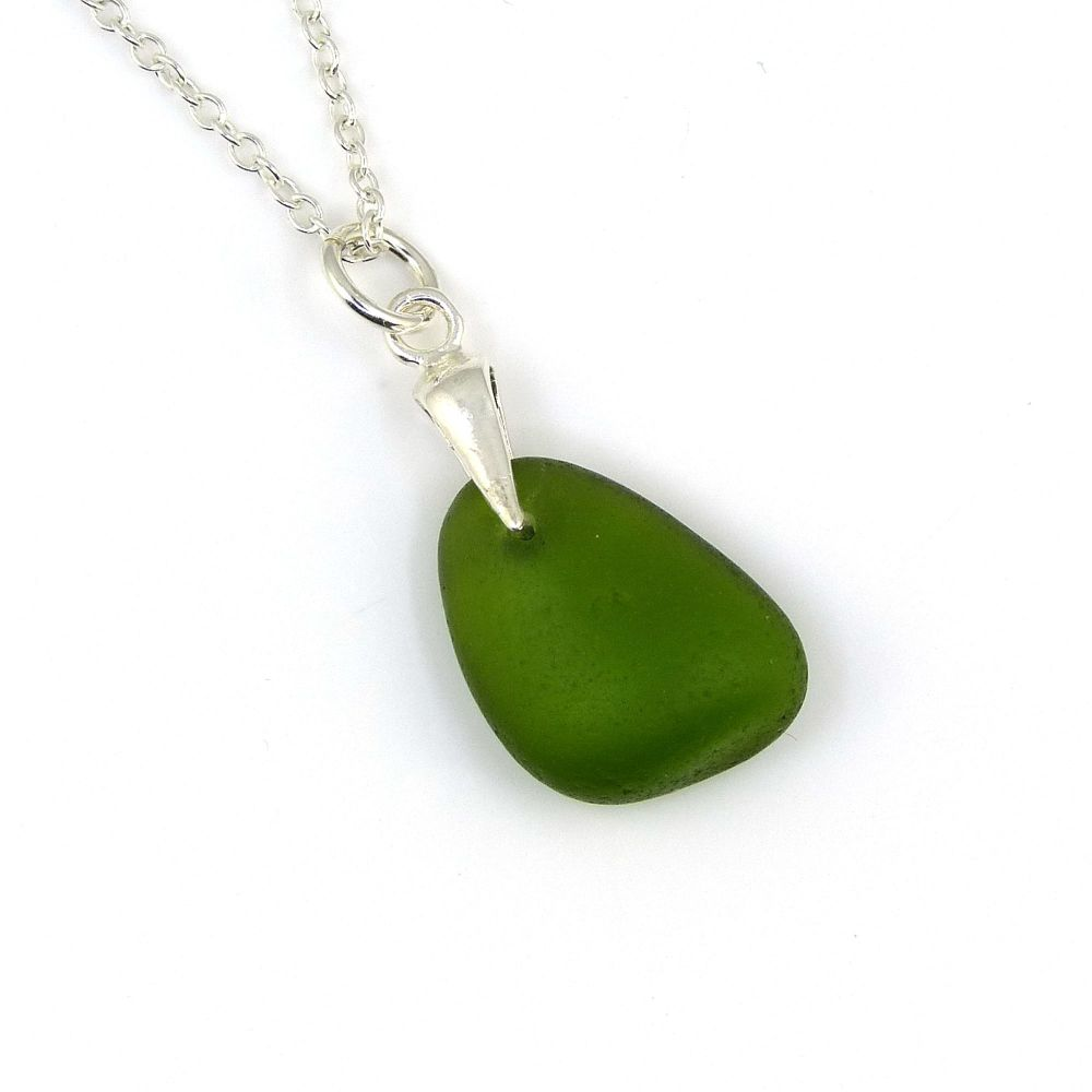 Forest Green English Sea Glass Necklace GEMMA