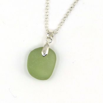 Tiny Pale Sage Green Sea  Glass Necklace HELEN