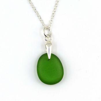 Kelly Green Sea Glass Necklace EVA