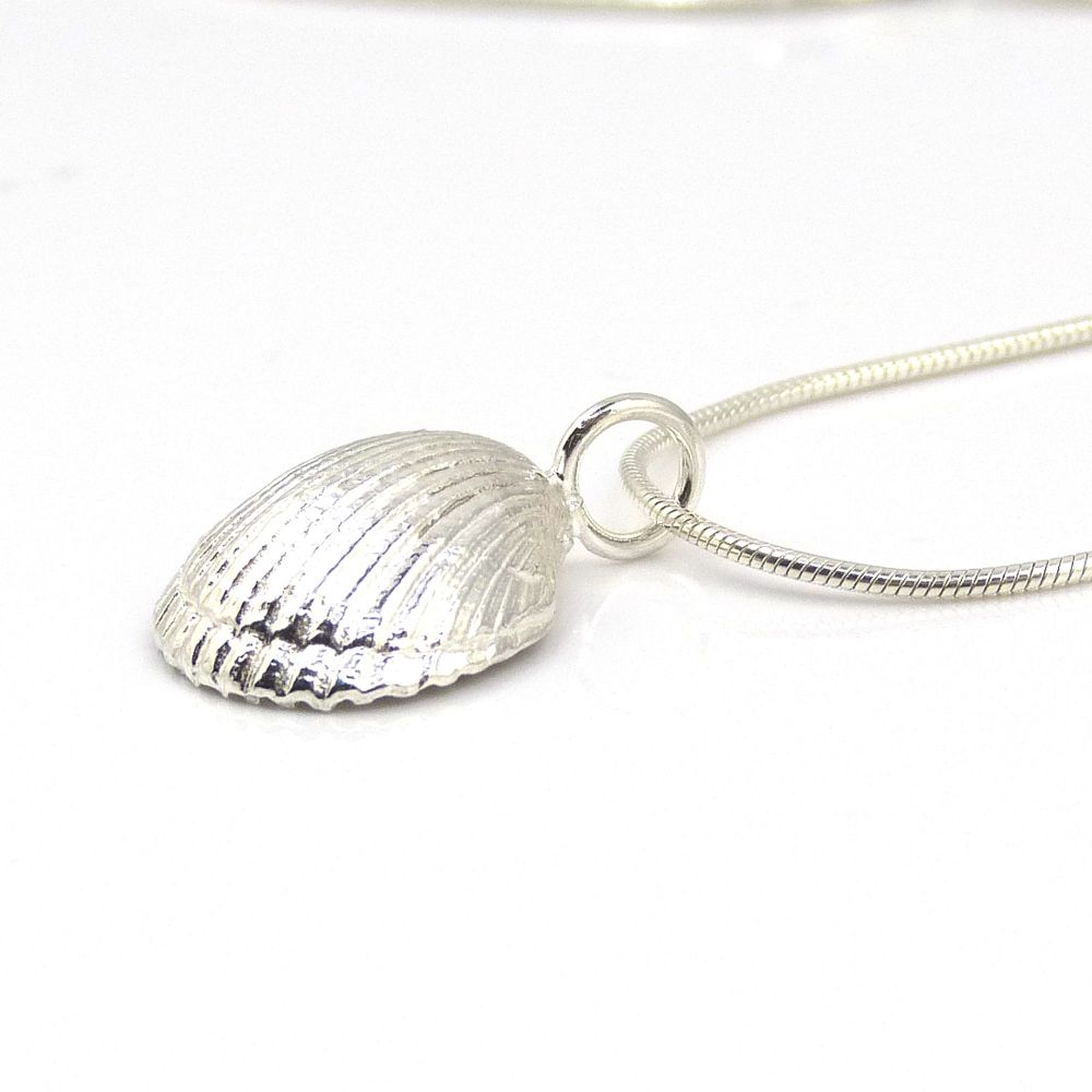 Sterling Silver Cockle Seashell Pendant Necklace - Small Cockle Shell