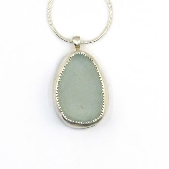 Glacier Blue Bezel Set Sea Glass Pendant Necklace GABRIELA