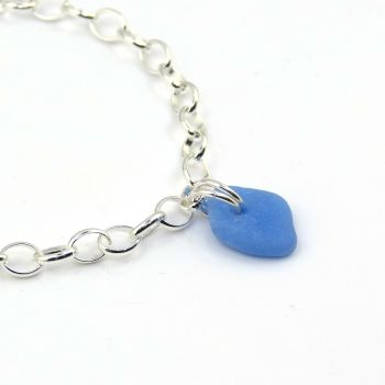 Blue Milk  Glass, Sea Glass and Sterling Silver Bracelet 4mm links The Strandline b257