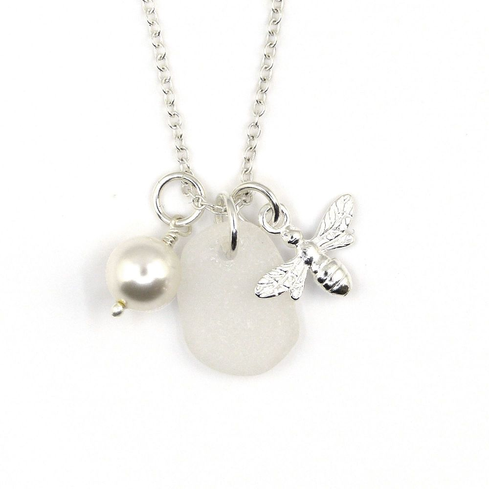 Snow White Sea Glass, Sterling Silver Bee Charm and Swarovski Crystal Pearl