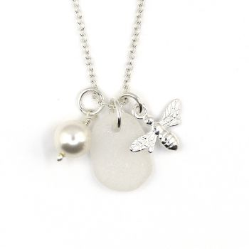Snow White Sea Glass, Sterling Silver Bee Charm and Swarovski Crystal Pearl Necklace