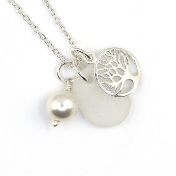 Snow White Sea Glass, Sterling Silver Tree of Life Charm and Swarovski Crystal Pearl Necklace