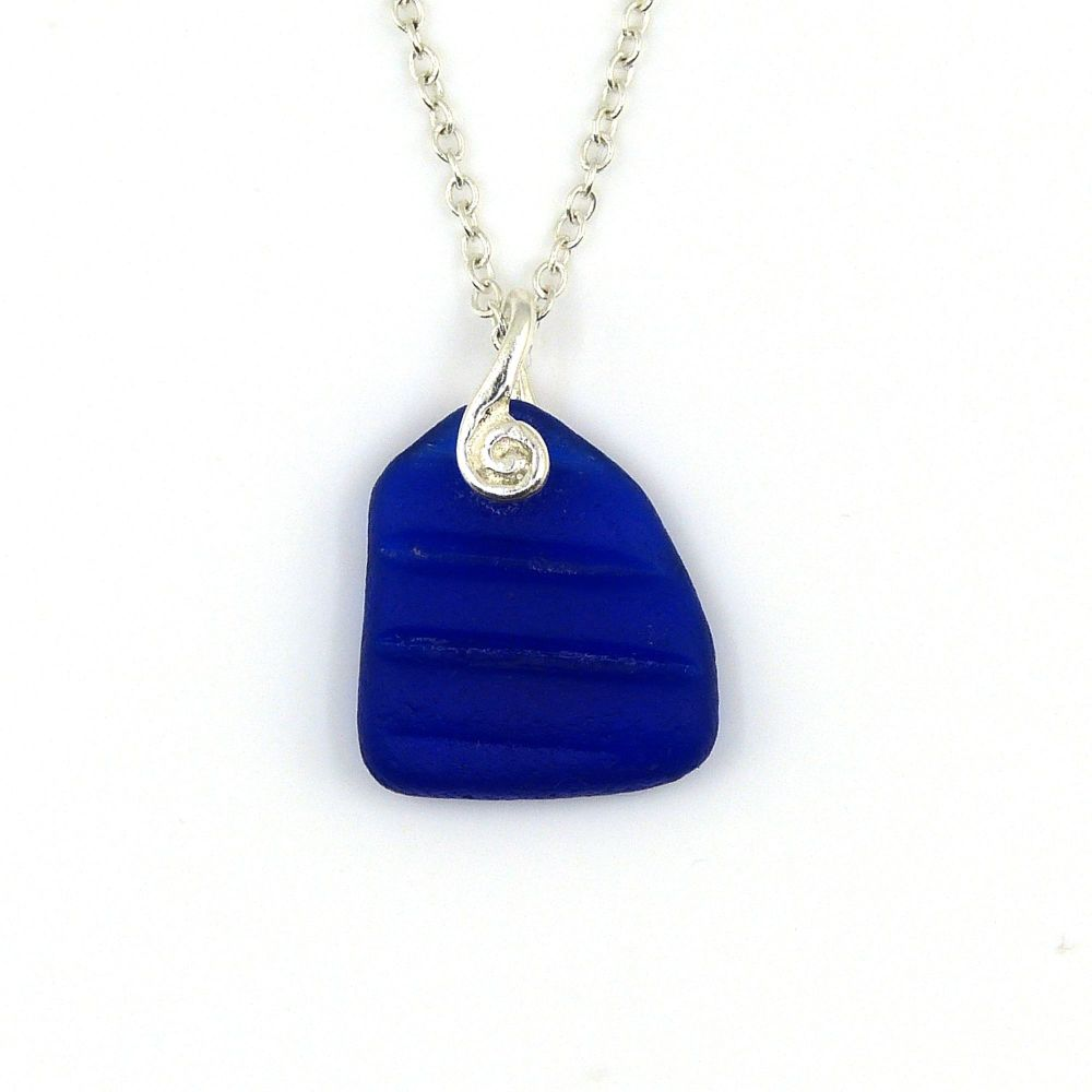 Rare Cobalt Blue English Sea Glass Necklace NICOLA