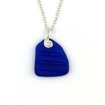 Rare Cobalt Blue English Sea Glass Necklace NICOLA