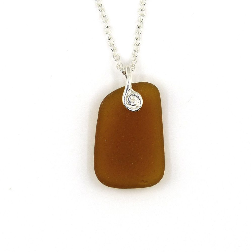 Amber Sea Glass Necklace, INDIE