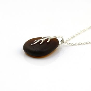 Deep Amber Sea Glass And Silver Tendril Pendant Necklace BRIANNA