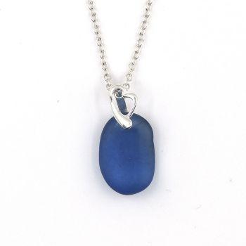 Rare Cobalt Blue English Sea Glass Necklace CECILIA